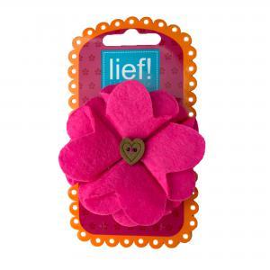 Lief! lifestyle haarelastiekje bloem roze