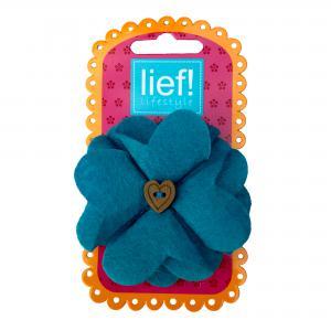 Lief! lifestyle haarelastiekje bloem blauw