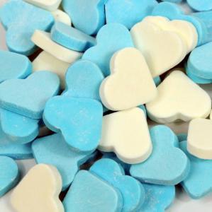 Themasnoep - Vruchtenhart groot blauw/wit 100 gram