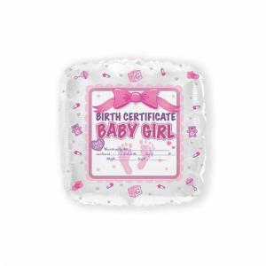 Folie ballon Birth certificaat roze