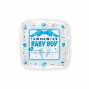 Folie ballon Birth certificaat blauw