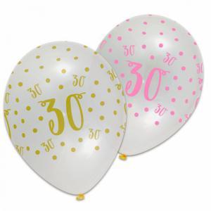 Ballonnen cijfer 30 met sterren goud/roze 6 stuks