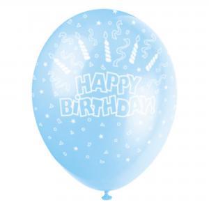 Happy birthday ballon blauw 5 stuks