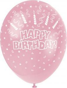 Happy birthday ballon roze 5 stuks