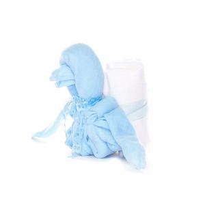 Hydrofiel luier gevouwen pinquin blauw met drie luiers.