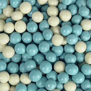 Themasnoep - Crisp choco rijstballetjes blauw-wit per 100 gram