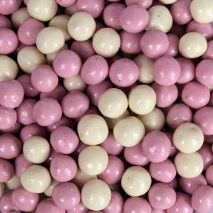 Themasnoep - Crisp choco rijstballetjes roze-wit per 100 gram