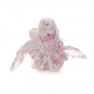 Hydrofiel luier gevouwen pinquin roze met drie luiers.