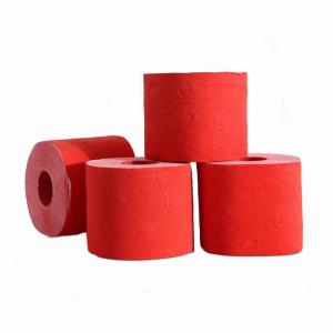 Gekleurde rol toiletpapier rood prijs is per stuk