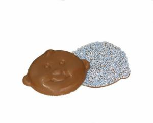 Themasnoep - Chocolade babysnoetjes blauw per stuk