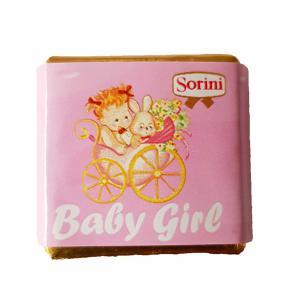 Themasnoep - Chocolade praline vierkant roze per stuk