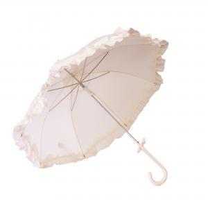 Dames paraplu met roesjes - ivoor/wit