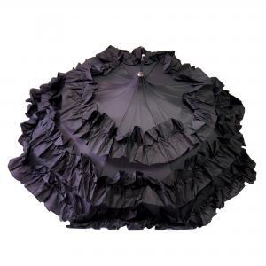Dames paraplu met dubbele roesjes - zwart