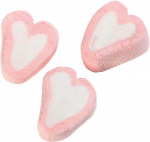 Themasnoep - Mellow Spekhartjes roze-wit prijs is per stuk.