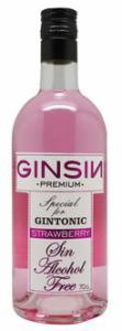 GinSin STRAWBERRY Alcoholvrije drank kleur ROZE 70cl