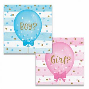 Gender Reveal Servetten 12 cm