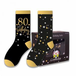 Verjaardag sokken  80 jaar goud (2 paar)