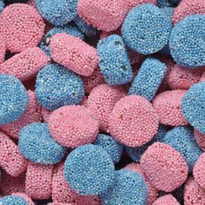 Jelly Buttons blauw - roze 100gram