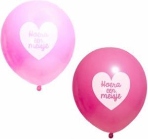 Ballon roze met tekst Hoera een meisje 10 stuks