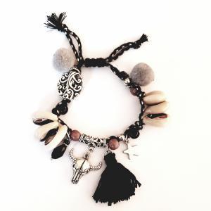 Ibiza armband met schelpjes en koeienschedel