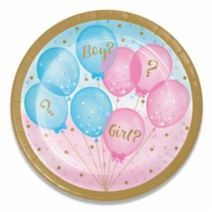 Gender reveal bordjes karton 18cm