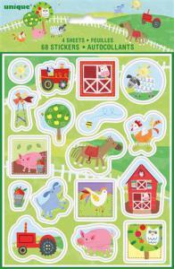 Feestartikelen - thema boerderij: stickers 4 vellen