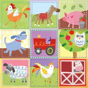 Feestartikelen - thema boerderij: servetten 16-stuks