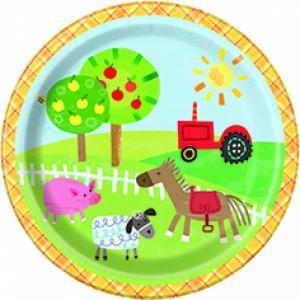 Feestartikelen -thema boerderij: Bordjes 8-stuks 17.1cm