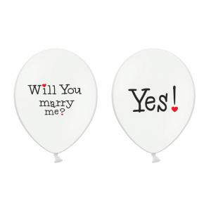 Ballon met tekst Wil you marry me? Yes 6-stuks