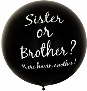 XL ballon zwart met tekst Sister or Brother