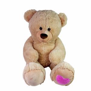 Knuffelbeer XXl roomkleur met roze hart op de voet