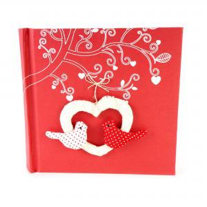 Fotoboek met hartjes en vogels (rood)