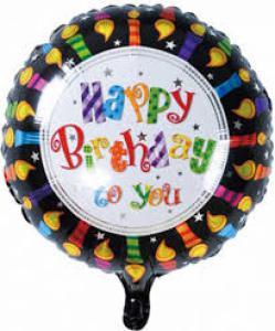 Folie ballon rond HAPPY BIRTHDAY 45cm