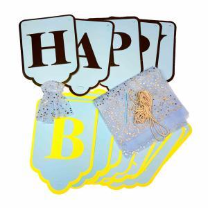 Happy Birthday vlaglijn blauw-goud