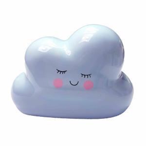 Spaarpot slapend wolkje en roze wangetjes in BLAUW, ook in roze en wit te verkijgen