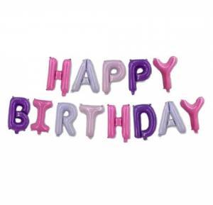 Folie ballon - Happy Birthday letters meisje 40 CM HOOG