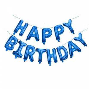 Folie ballon - Happy Birthday letters jongen 40 cm hoog