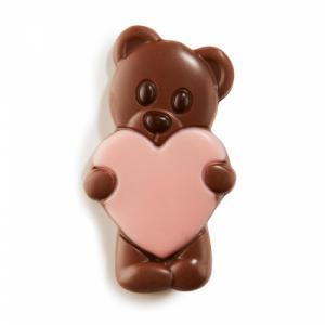 Chocolade teddybeer roze hart (melk)