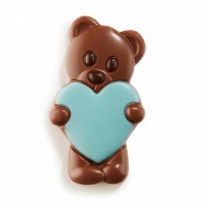Chocolade teddybeer blauw hart (melk)