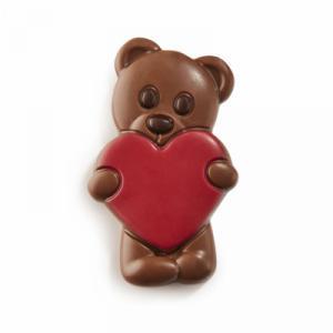 Chocolade teddybeer rood hart (melk)