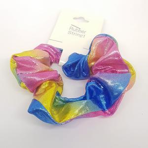 Scrunchie regenboog roze - blauw - geel
