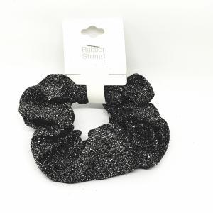 Scrunchie glitter zwart - zilver