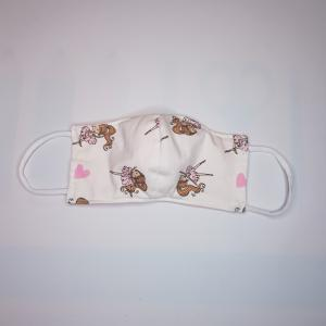 Kleuter mondkapje - BALLERINA wit - 4-6 jaar Model 2