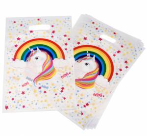 Feestartikelen - Unicorn regenboog uitdeelzakjes 8-stuks