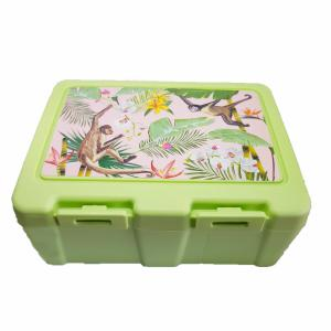 Lunchbox mintgroen jungle met slingeraapjes