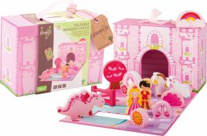 Jouéco speelkoffer prinsessenkasteel hout 13-delig meisjes roze