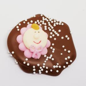 Geboortechocolade - meisje melk/roze