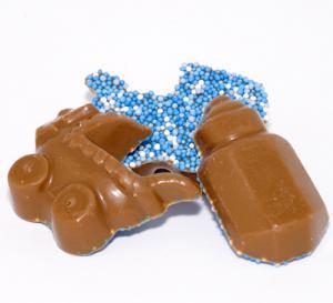 Themasnoep - geboorte chocolade Blauw 1 ons