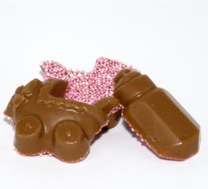 Themasnoep - geboorte chocolade Roze 1 ons