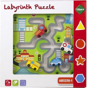 Houten Labyrinth puzzle met 4 voertuigen